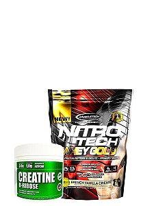 Nitro Tech 100% Whey Gold 454g + Creatine D-Rribose Plex Natue 200g