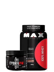 100% Whey 900g Max Titanium+ Evora 150g (Vit Frutas)