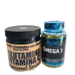 Kit Glutamina com Vitamina C 300g Plex Natue + Ômega 3 120 Caps Age