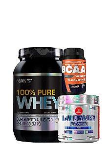 Combo 100% Whey Pure 900g  + L-Glutamina 100g + Bcaa Premium 120 Tab