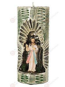 VELA ARTESANAL COM IMAGEM DE JESUS MISERICORDIOSO EM RESINA