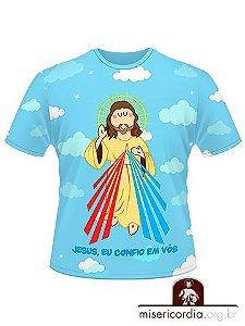 CAMISETA INFANTIL JESUS MISERICORDIOSO - AZUL