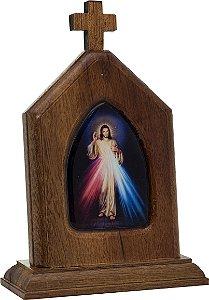 CAPELINHA EM MADEIRA COM IMAGEM RESINADA - JESUS MISERICORDIOSO