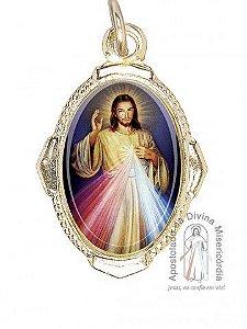MEDALHA RESINADA EM METAL DOURADO - JESUS MISERICORDIOSO