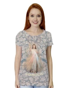 CAMISETA BABY LOOK JESUS MISERICORDIOSO ABSTRATO - pré-venda