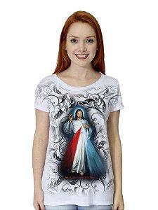 CAMISETA BABY LOOK JESUS MISERICORDIOSO FOLHAS - PRÉ-VENDA