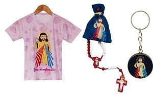 Kit Camiseta infantil Jesus Misericordioso + terço infantil Jesus + Chaveiro Jesus