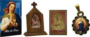 Kit Capelinha Mãe de Misericórdia + Devocionário Mãe + Cartão com Ladainha  +  medalha
