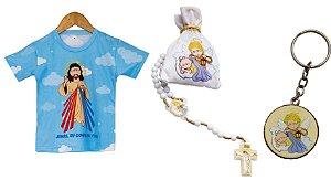 Camiseta infantil Jesus azul + terço infantil Anjo da Guarda + Chaveiro Anjo da Guarda