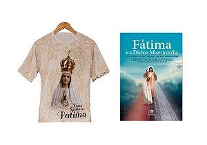 Camiseta de Nossa Senhora de Fátima, livro Fátima e a Divina Misericórdia