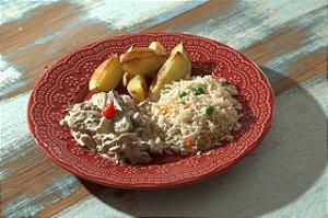 Strogonoff de cogumelos, arroz integral colorido e batatas rusticas - 350g