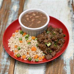 Picadinho de carne, arroz integral colorido e feijão carioca - 350g