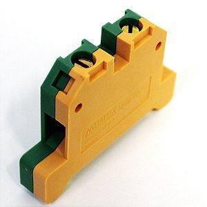 CONECTOR TERRA 10MM COM CAPA P/ TRILHOS TS35 E TS35 - VERDE/AMARELO MGB10/35