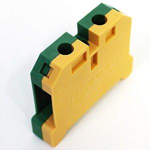 CONECTOR TERRA 16MM COM CAPA P/ TRILHOS TS35 E TS35 - VERDE/AMARELO MGB16/35