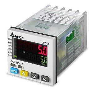 Temporizador, Contador e Tacômetro Largura 48mm com Altura 48mm e com saída a transistor dois estágios com comunicação com alimentação 100~240Vac DELTA CTA4001A