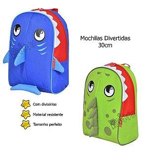 Mochila Dinossauro Ou Tubarão 30cm Divertida Para Menino