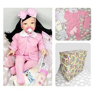 Boneca Bebê Reborn Morena Cabelo Comprido Kit com Acessórios