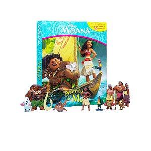 Brinquedo Kit Com Bonecos Turma Moana Livro E Cenário Gigante