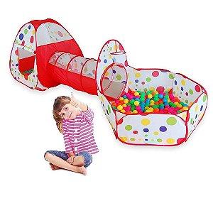 Barraquinha Infantil com Túnel e Piscina de Bolinhas 3 em 1