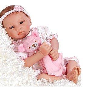 Boneca Bebê Reborn Menina Recém Nascida Realista Ursinho