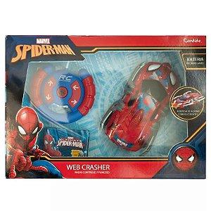 CARRO COM CONTROLE REMOTO 7 FUNÇÕES WEB CRASHER SPIDER MAN 5842