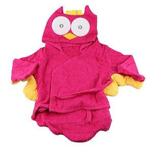 Roupão Para Bebê Com Capuz- Corujinha