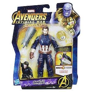 Capitão América c/ joia do Infinito - boneco pequeno