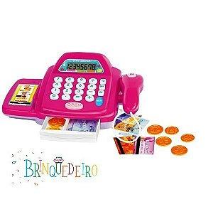 Caixa Registradora Rosa Mercadinho Infantil Calculadora e Acessórios