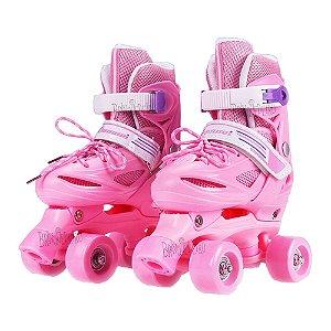 Roller Patins Infantil 4 Rodas Paralelas Rosa Regulavel 29-32