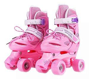 Roller Patins Infantil 4 Rodas Paralelas Rosa Regulavel 33-36