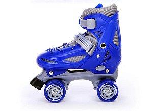 Roller Patins Infantil 4 Rodas Paralelas Azul Regulavel 27-30