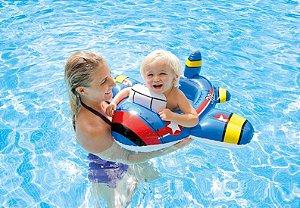 Boia com Fralda Baby bote Avião Azul para Piscina Intex