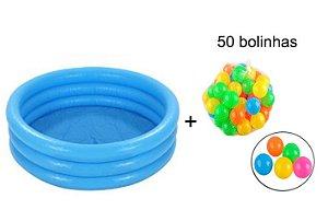 Piscina Inflável Azul Infantil + 50 bolinhas Intex