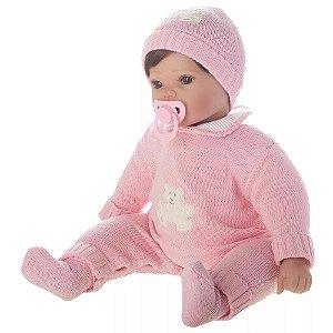 Boneca Bebê Reborn 50 cm Menina com Chupeta Laura Mia Baby Vinil