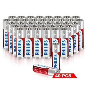Kit de Pilhas Palito Alcalina 40 Unidades AAA 1100mAh não Recarregavel