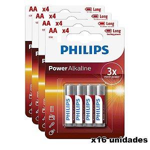 Kit de Pilhas Alcalina 16 Unidades Philips AA 2500mAh não Recarregavel