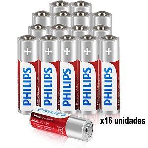Kit de Pilhas Palito Alcalina 16 Unidades AAA 1100mAh não Recarregavel