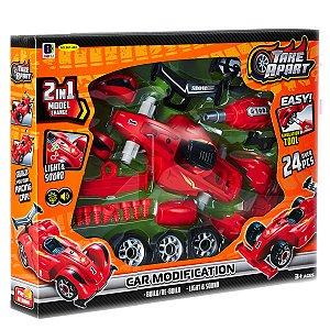 Kit Mecânico Carro Monta e Desmonta 24peças Ferrari Vermelho