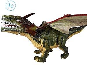 Dragão Boneco Dinossauro Brinquedo Com Som E Luz E Bate Asas
