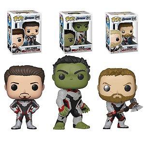 Kit 03 Pop Funko Vingadores Ultimato Avengers Equipe Hulk, Tony Stark e Thor  End Game
