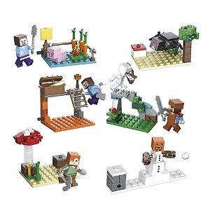 Blocos de montar Minecraft 178 peças com 6 Cenários e 8 Personagens