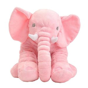 Animal de Pelúcia Gigante 60 Cm Elefante Rosa Buba Almofada