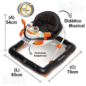 Andador Infantil Disquinho para Bebês Didático Galzerano Preto