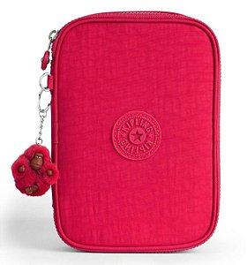 Estojo Kipling 100 Canetas (Pens) Rosa True Pink Macaco