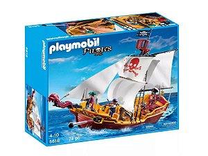 Playmobil  Navio Pirata Com 74 Peças Piratas 5618