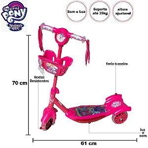 Patinete Infantil Musical 3 rodas Menina My little Pony Rosa