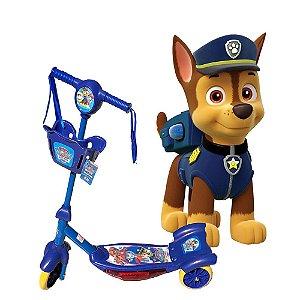 Patinete Musical Infantil 3 Rodas Menino Patrulha Canina Azul