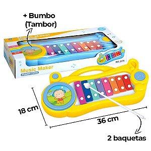 Piano Infantil  Xilofone  Brinquedo Tambor Bumbo 8 Teclas