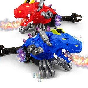Dinossauro Azul Dragão Robotico Solta Fumaça Anda faz Luz Led