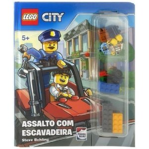 Livro Lego Assalto Com Escavadeira Lego City Vem Com Legos